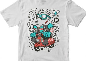 Rhino Scooterist t shirt design png