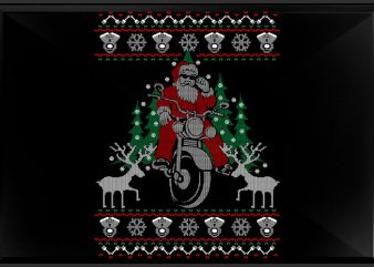 Santa Bike t shirt template vector