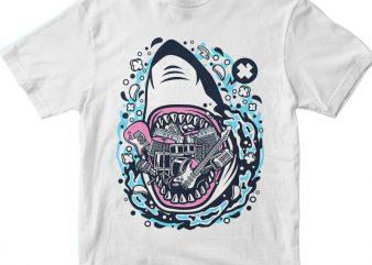 Shark Rock t shirt template vector