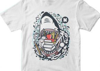 Shark School t shirt template vector