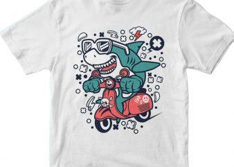 Shark Scooterist t shirt template vector