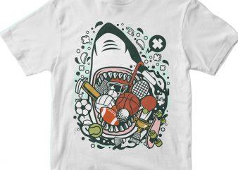Shark Sports graphic t-shirt design