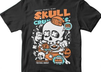 Skull Crunchies t shirt template vector