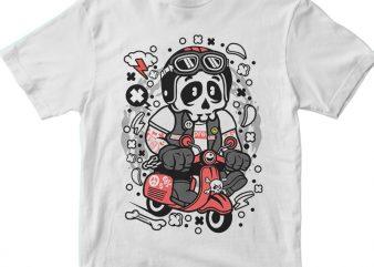 Skull Scooterist t shirt template vector