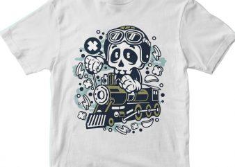 Skull Train t shirt template vector