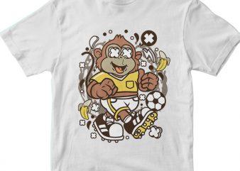 Soccer Monkey t shirt template vector