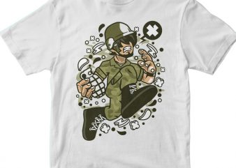 Soldier Running vector t-shirt design for commercial use