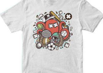 Sports Octopus vector shirt design