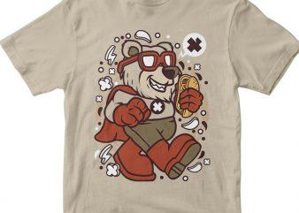 Super Bear t shirt template vector