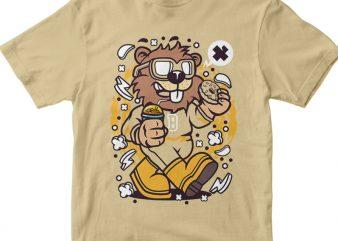 Super Beaver t shirt template vector