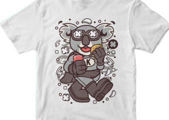 Super Koala t shirt template vector