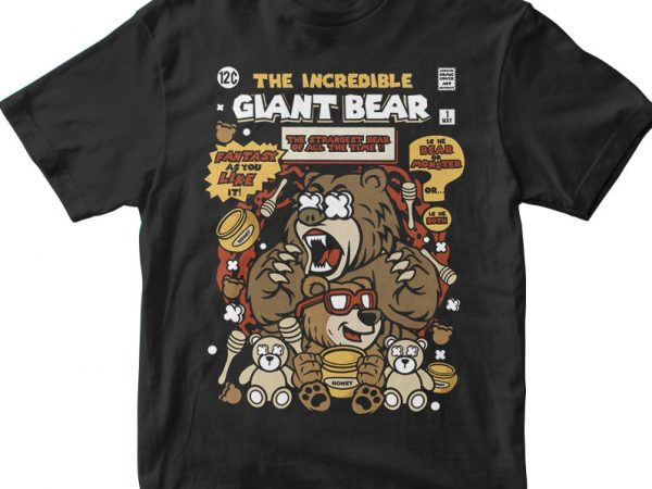 The Incredible Bear vector t-shirt design