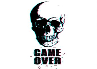 Game over print ready shirt design