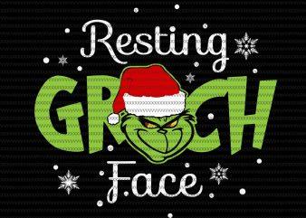 Resting Grinch Face svg, Grinch svg, Grinch funny Christmas svg, dxf, eps, png file t shirt design online