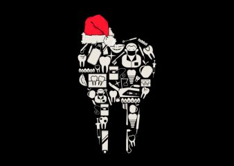 dentist christmas vector t-shirt design template