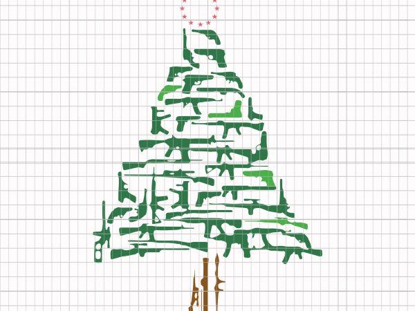 Guns Christmas Tree Ornament t shirt design template