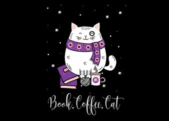 book,coffee,cat t shirt design to buy