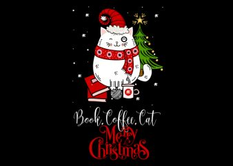 book,coffee,cat,Christmas t shirt template