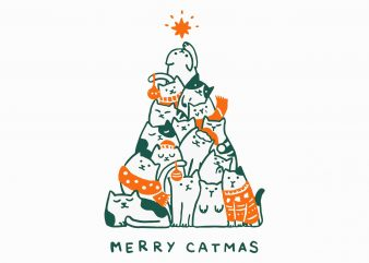 Merry Catmas Svg, Merry Catmas Funny Cats Christmas Tree Xmas Svg, Png, Dxf, Eps file t shirt designs for sale
