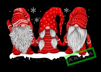 Three gnomes in red costume Christmas png,three gnomes red design