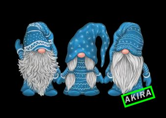 Three gnomes blue,Gnome png,Gnome christmas t shirt designs for sale
