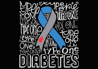 Grey And Blue Ribbon Typography Type 1 Diabetes Awareness Png, Svg, Dxf, Eps file commercial use t-shirt design