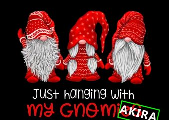 Just hangin'with my gnomies,Three gnomes in red costume Christmas png,three gnomes red design