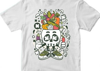 Vegetable Skull Head t shirt vector art