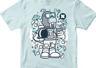 Walrus Astronaut t shirt design for sale