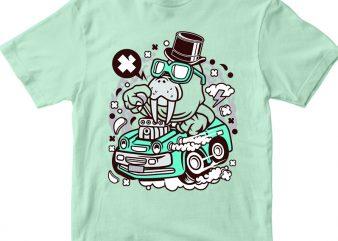 Walrus Hotrod t shirt design for sale