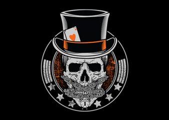 Skull Poker Vector t-shirt design