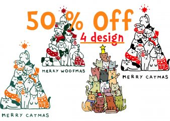 4 design, Merry Catmas Svg, Merry Catmas Funny Cats Christmas Tree Xmas Svg, Merry Woofmas svg, Merry Woofmas Christmas Dog Fan svg, Png, Dxf, Eps file
