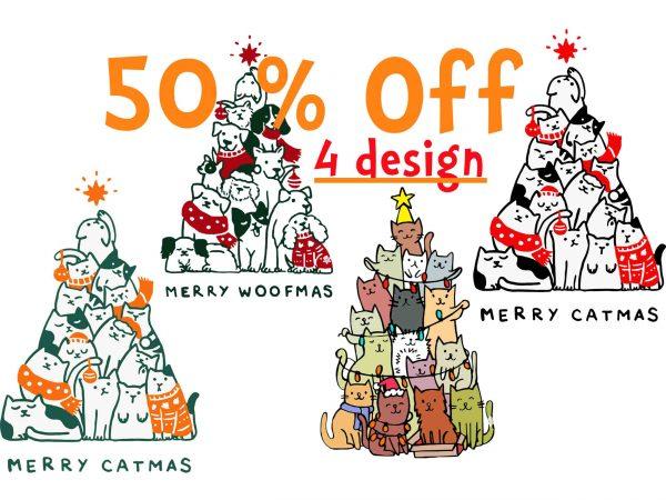 4 design, Merry Catmas Svg, Merry Catmas Funny Cats Christmas Tree Xmas Svg, Merry Woofmas svg, Merry Woofmas Christmas Dog Fan svg, Png, Dxf, Eps file