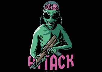 Alien Attack t shirt vector