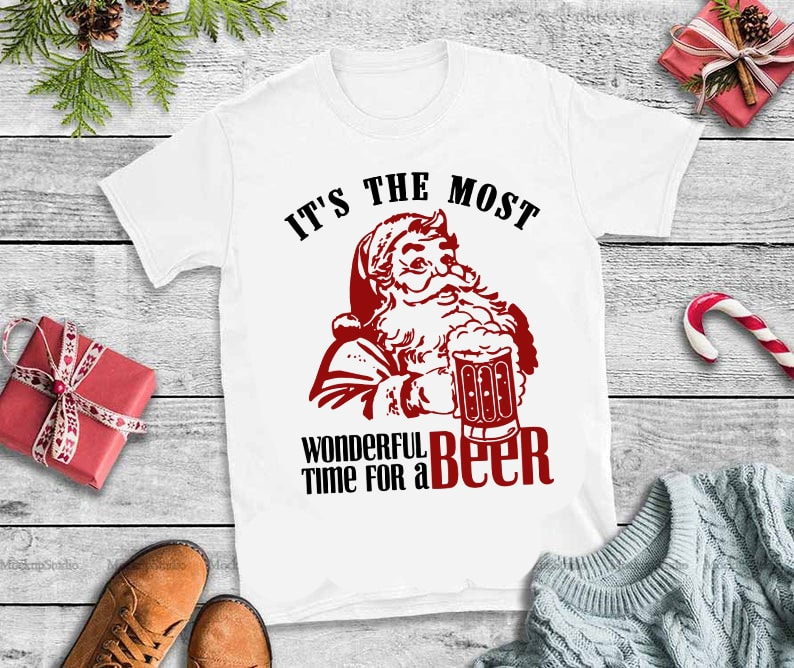2 version santa beer,It's the most wonderful time for a beer santa svg,It's the most wonderful time for a beer santa design tshirt tshirt designs for merch by amazon