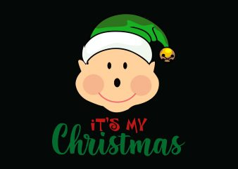 Baby Christmas vector t-shirt design template
