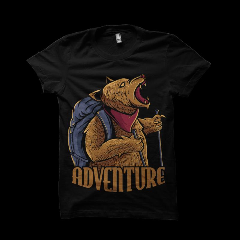 adventure bear t shirt designs for merch teespring and printful