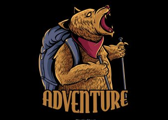 adventure bear t shirt vector