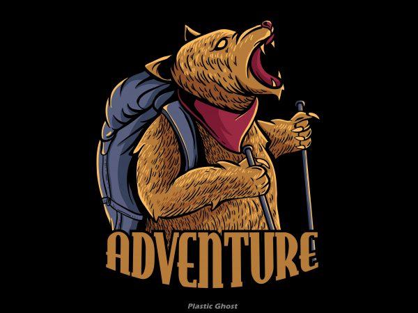 adventure bear print ready vector t shirt design