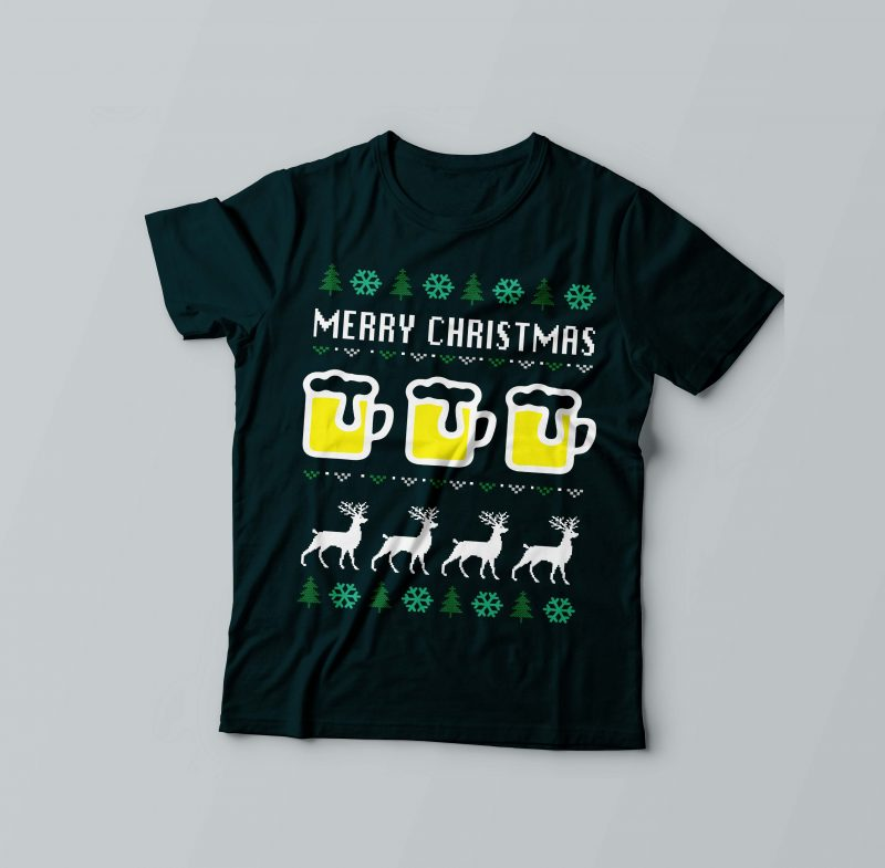 Merry Beer Christmas vector shirt designs