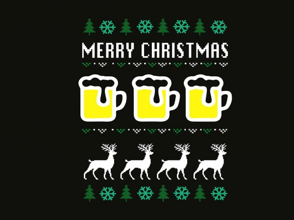Merry Beer Christmas t shirt designs for sale
