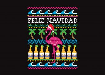Feliz Beer Christmas commercial use t-shirt design