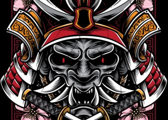 Demon Samurai t shirt vector illustration