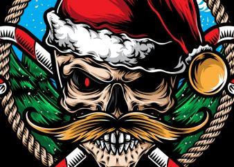skull santa mustache t shirt design for purchase