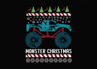 MOnster Christmas buy t shirt design artwork