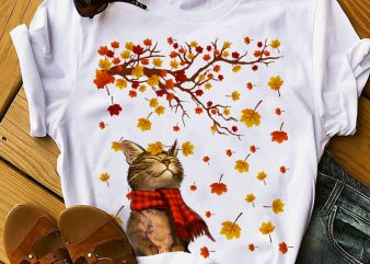 CAT AUTUMN commercial use t-shirt design
