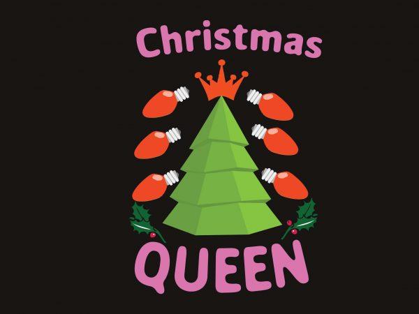 Christmas Queen vector t-shirt design template
