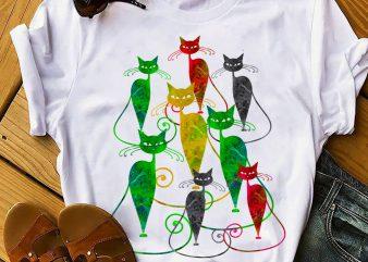 COLORFUL CAT t shirt design template