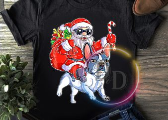 Santa claus ride bulldog Merry christmas T shirt