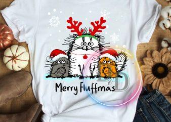 Merry fluffmas Cats Christmas T shirt